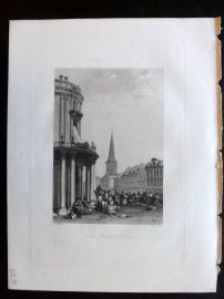 After Vickers 1834 Antique Print. Fish Market, Berlin, Germany